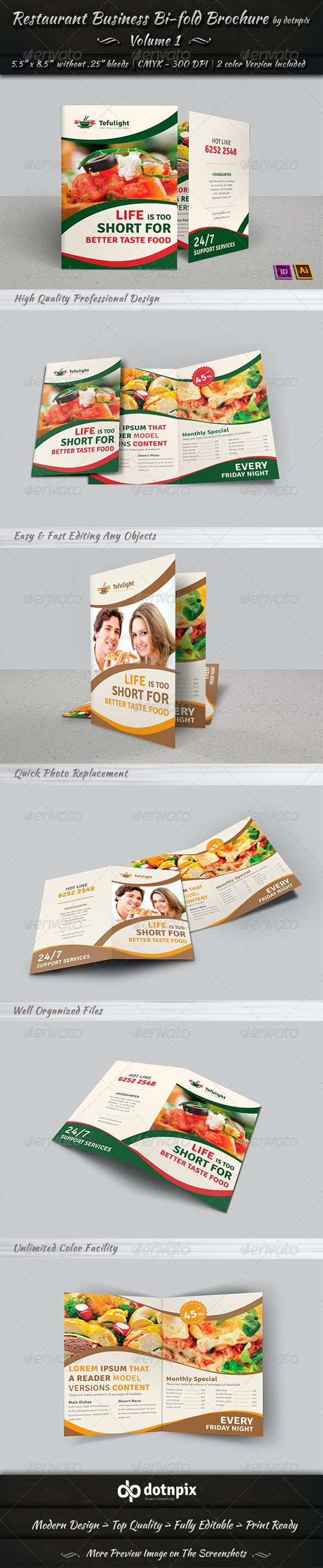 Restaurant Business Bi-Fold Brochure | Volume 1 - Corporate Brochures