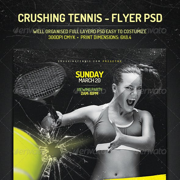 Crushing Tennis - Flyer PSD Template