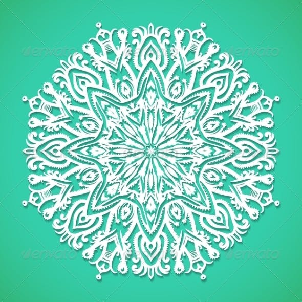 Mandala or Snowflake on Bright Turqoise