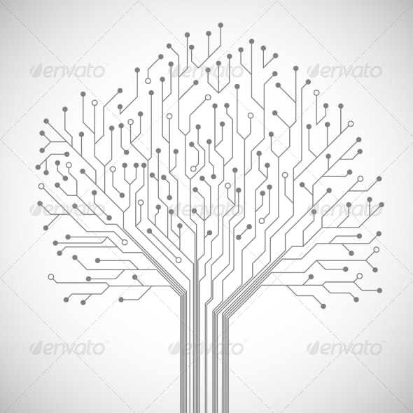 Circuit Board Tree Symbol Poster - Computers Technology