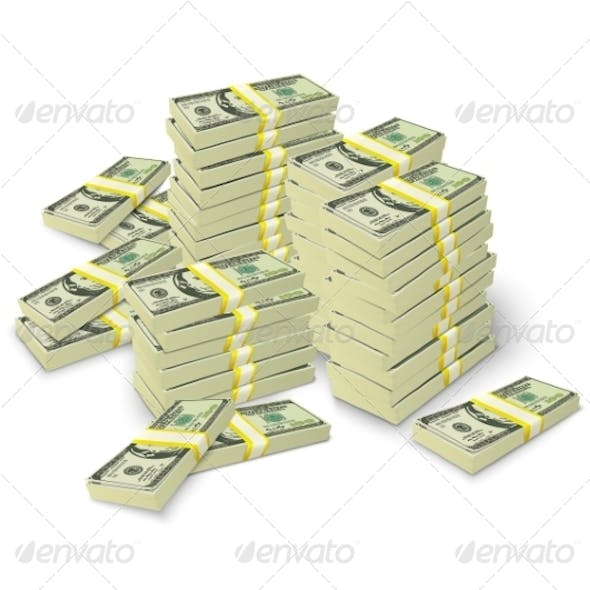 Money Stacks Banknotes Pile Concept