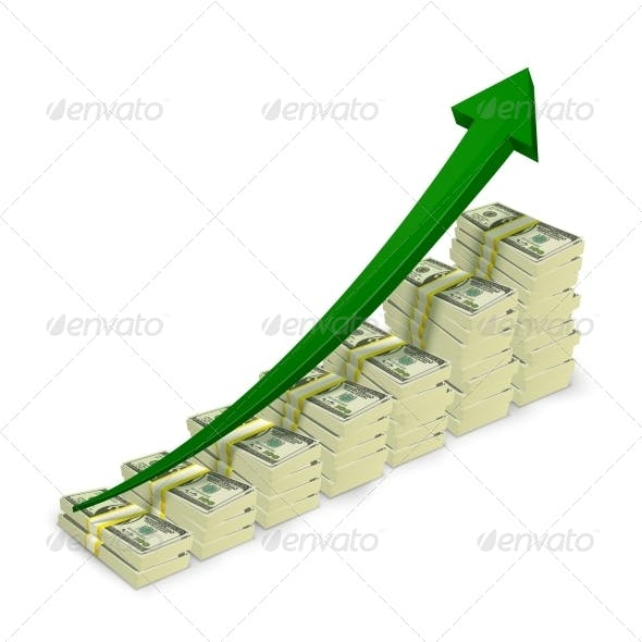 Money Banknotes Stacks Rising Graph