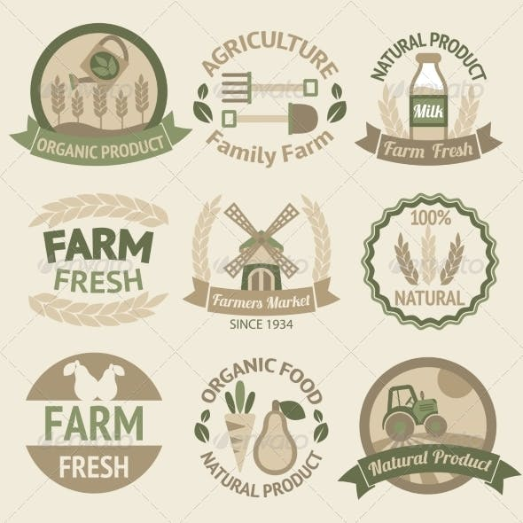 Farming harvesting and agriculture labels