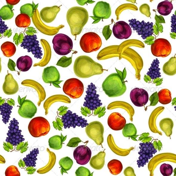 Seamless Mixed Fruits Pattern Background