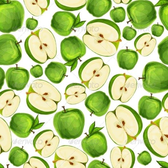 Seamless Apple Fruit Sliced Pattern