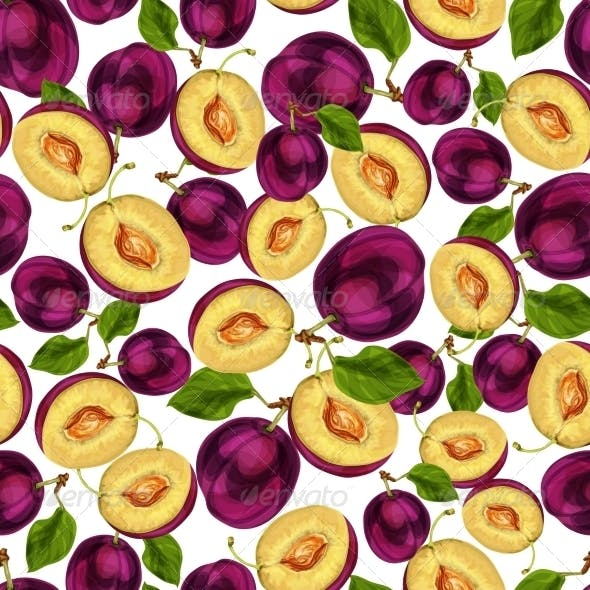 Seamless Plum Fruit Sliced Pattern