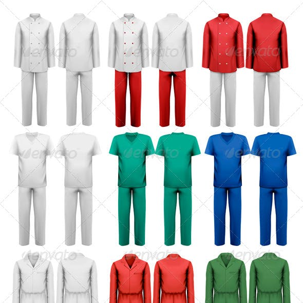 Set of Overalls with Worker Design Template