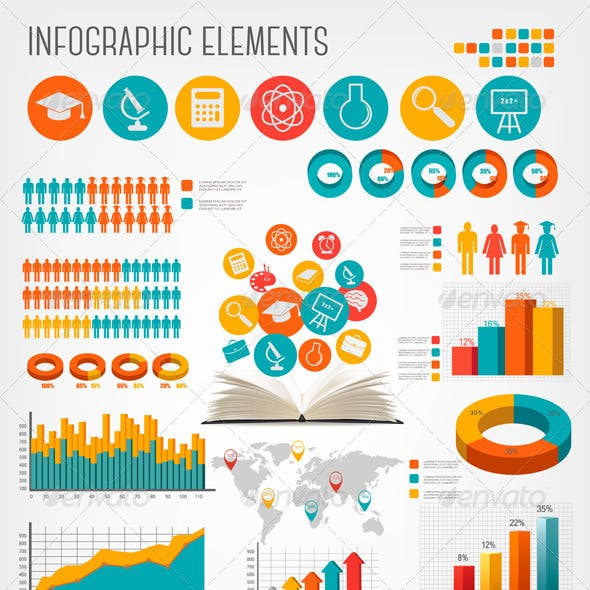 Big Set of Flat Education Infographics Elements