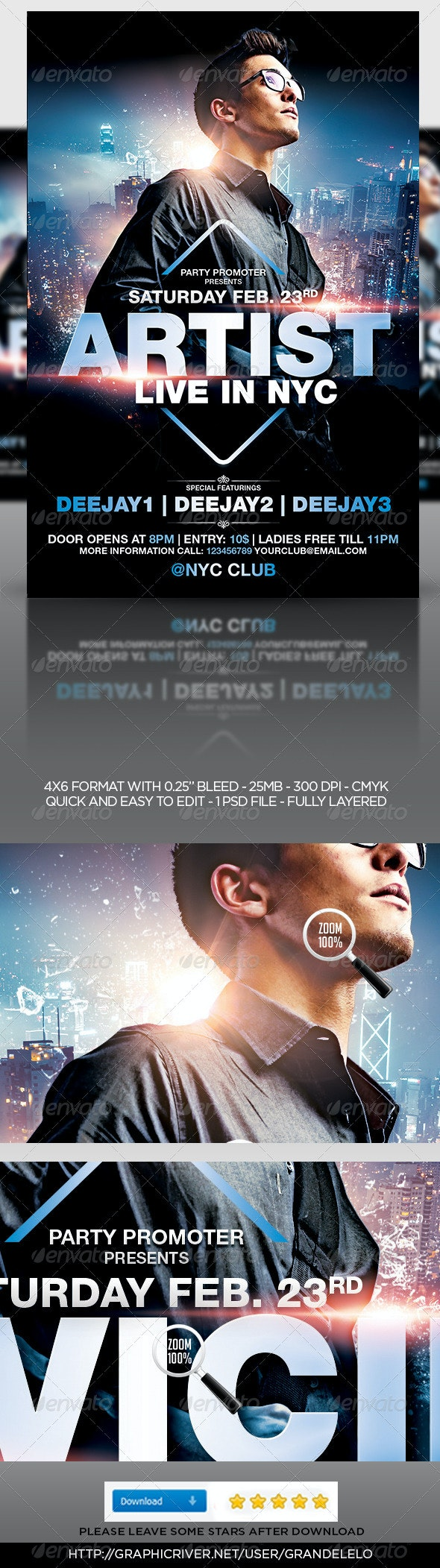 House DJ Party Flyer Template - Clubs & Parties Events