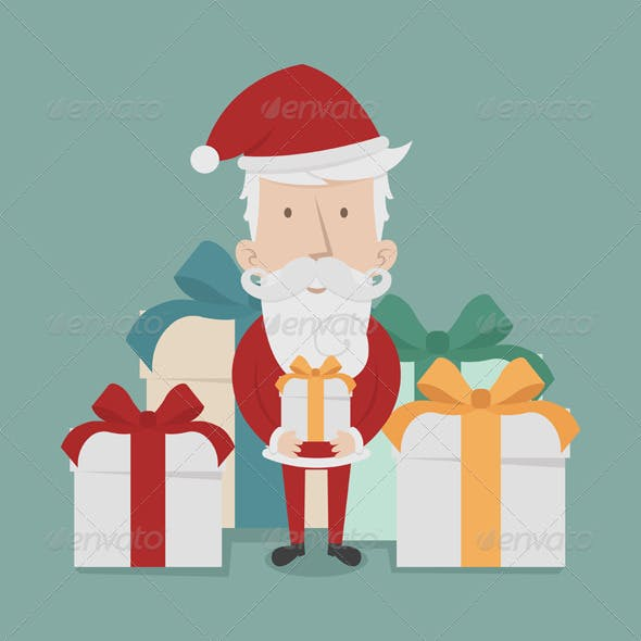 Santa Claus Standing with Gift Boxes