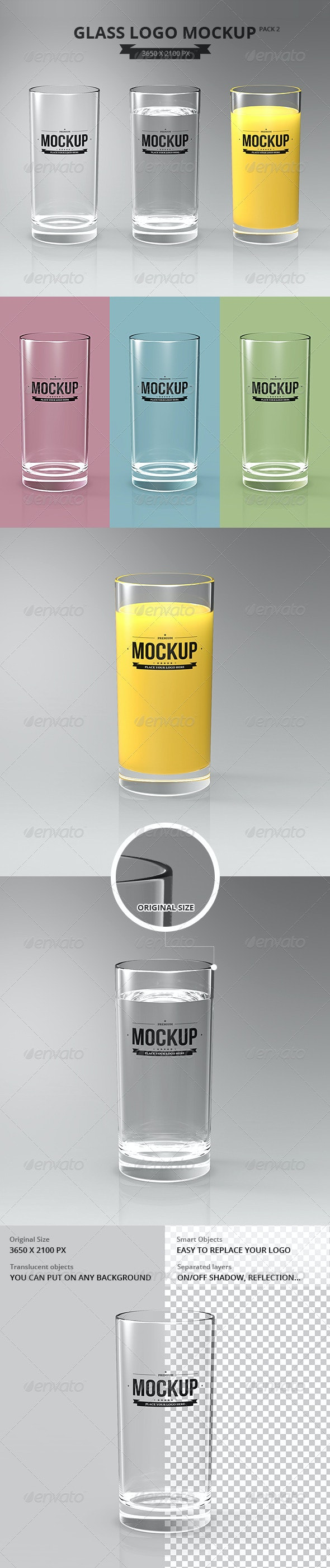Glasses Logo Mockup Pack 2 - Food and Drink Packaging