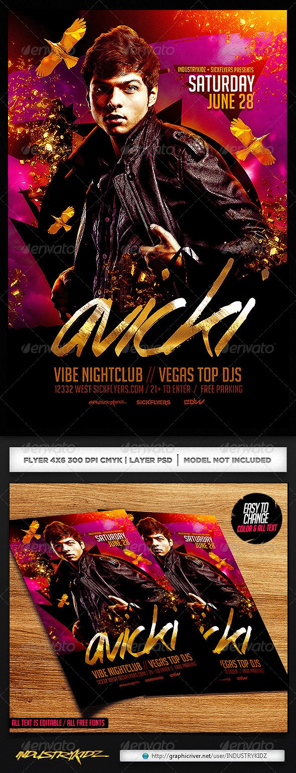 Guest Dj Flyer Template PSD - Clubs & Parties Events