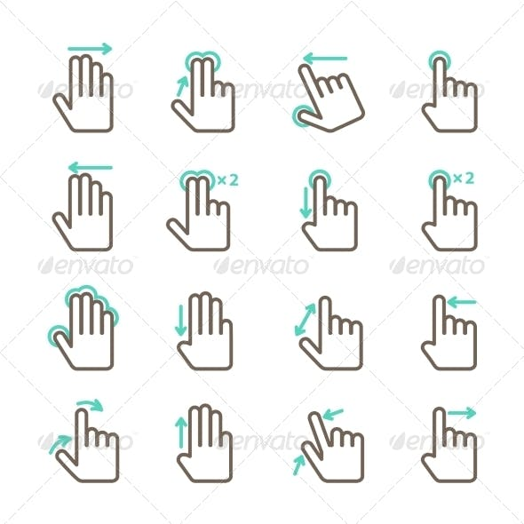 Hand Touch Gestures Icon Set