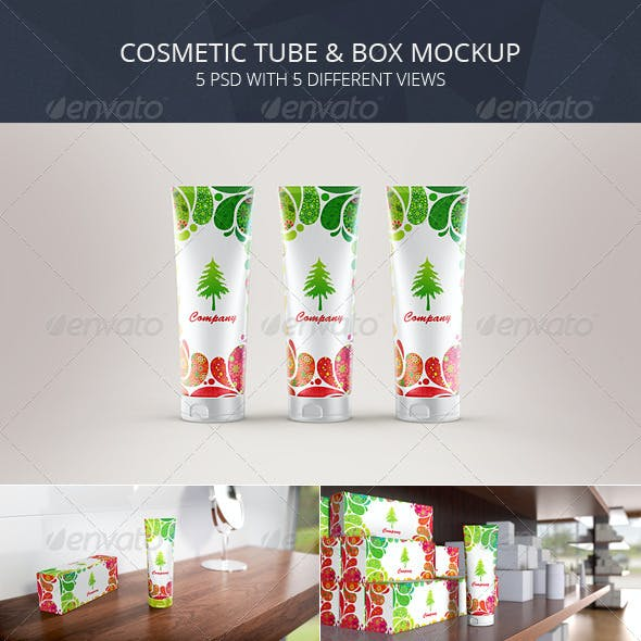 Cosmetic Tube & Box Mockup (Toothpaste Packaging)
