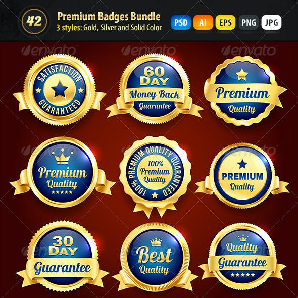 Bundle - 42 Gold, Silver And Solid Color Badges