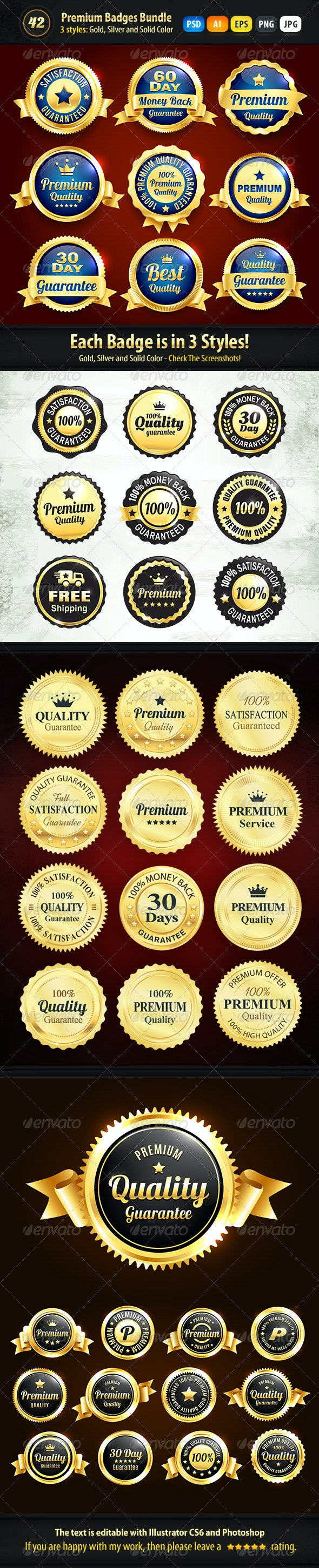 Bundle - 42 Gold, Silver And Solid Color Badges - Badges & Stickers Web Elements