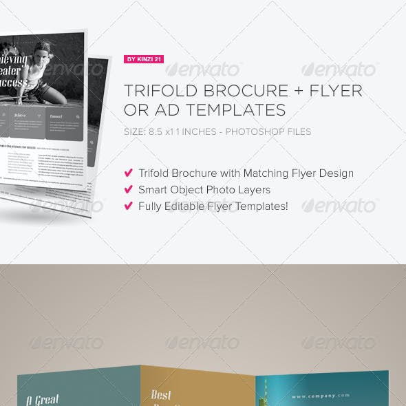 Trifold Brochure + Flyer / Ad Templates