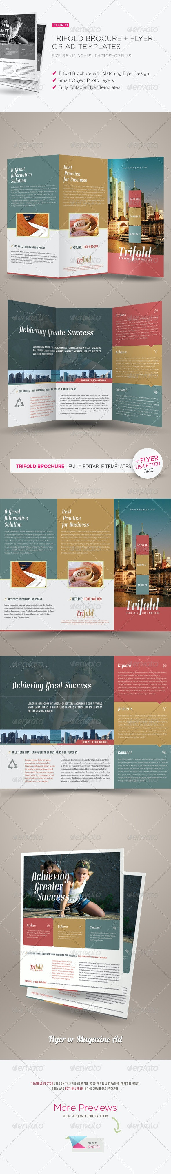 Trifold Brochure + Flyer / Ad Templates - Corporate Brochures