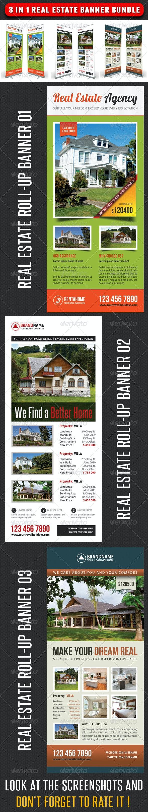3 in 1 Real Estate Banner Bundle 02 - Signage Print Templates