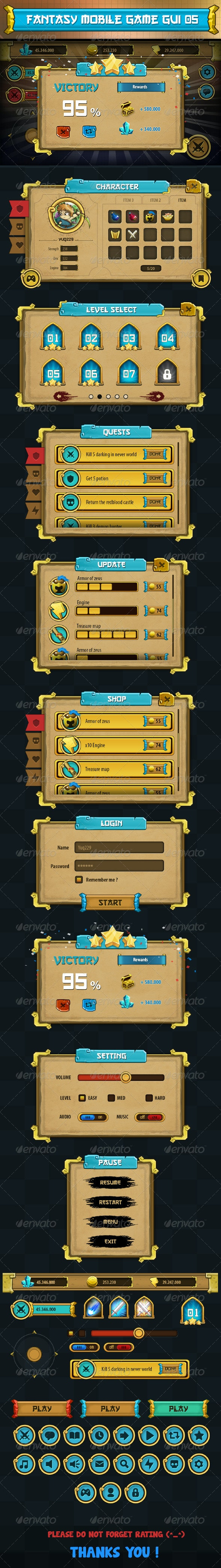 Fantasy Mobile Game Gui Pack 05 - User Interfaces Web Elements
