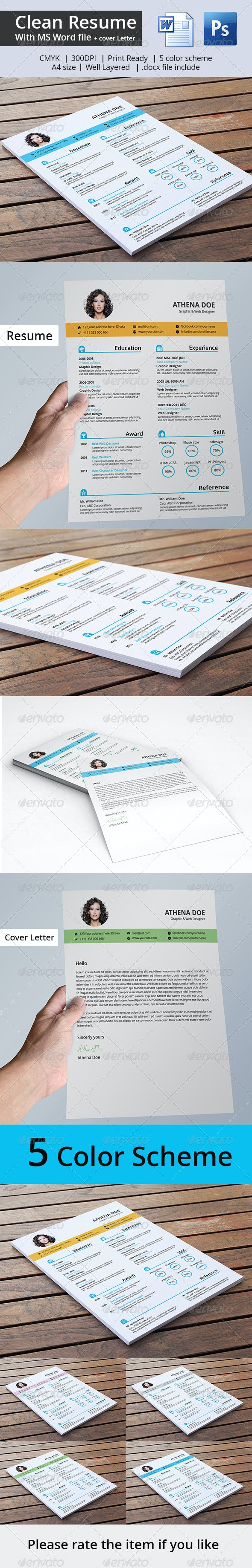 Clean Resume & Cover Letter With MS Word - Resumes Stationery