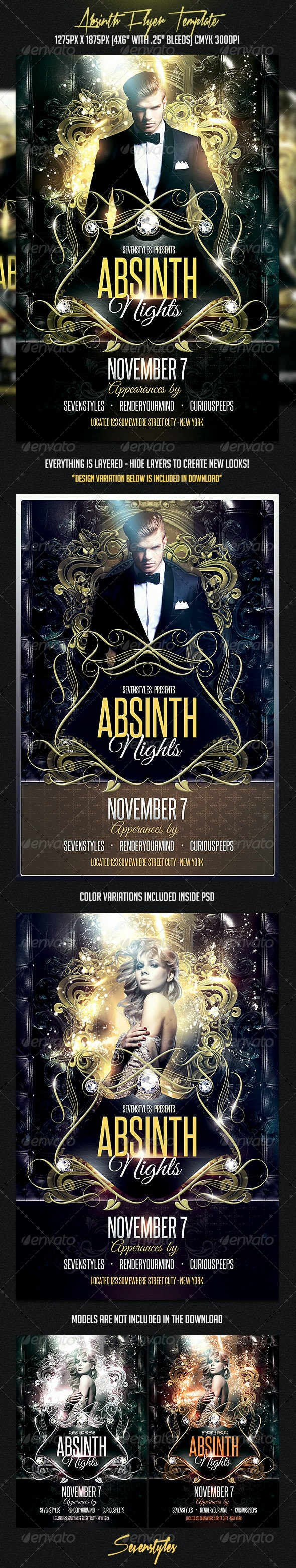 Absinth Flyer Template - Flyers Print Templates