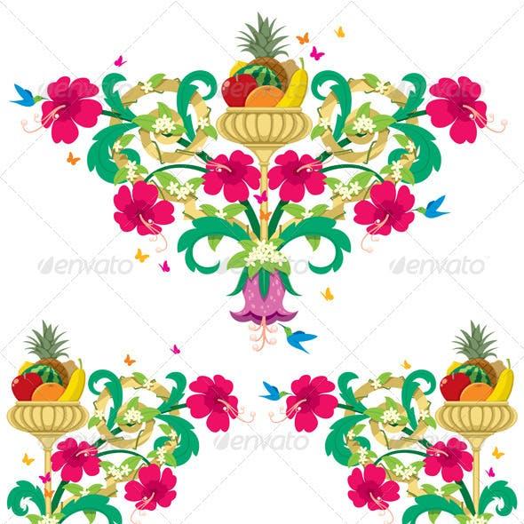 Tropical Floral Borders – Retro