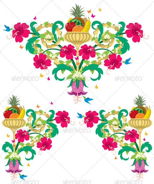 Tropical Floral Borders – Retro - Flourishes / Swirls Decorative