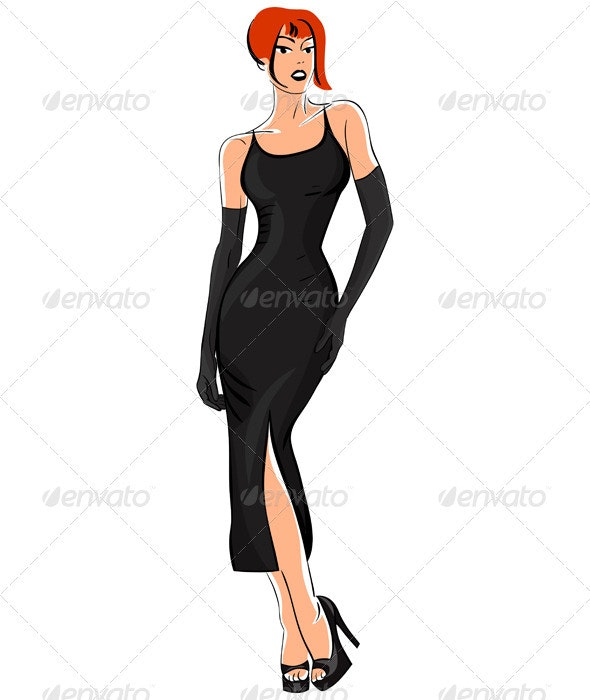 Vector Little Black Dress - People Characters