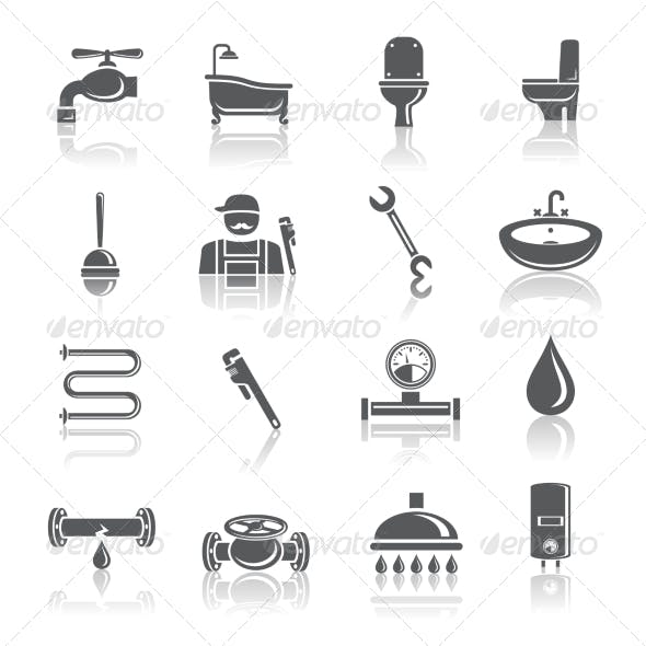 Plumbing Tools Pictograms Icons