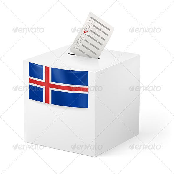 Ballot Box with Voting Paper Iceland