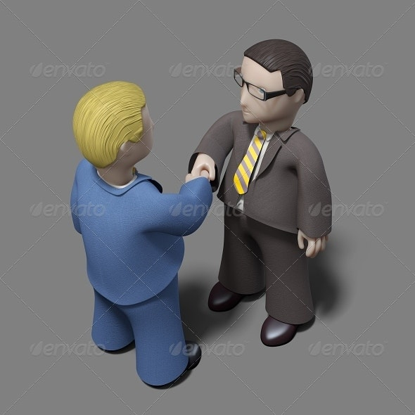 Business Character Shaking their Hands - 3D Renders Graphics