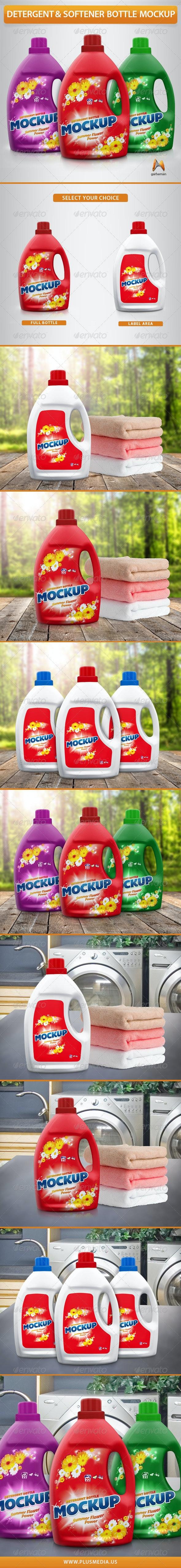 Detergent & Softener Bottle Mockup - Miscellaneous Packaging