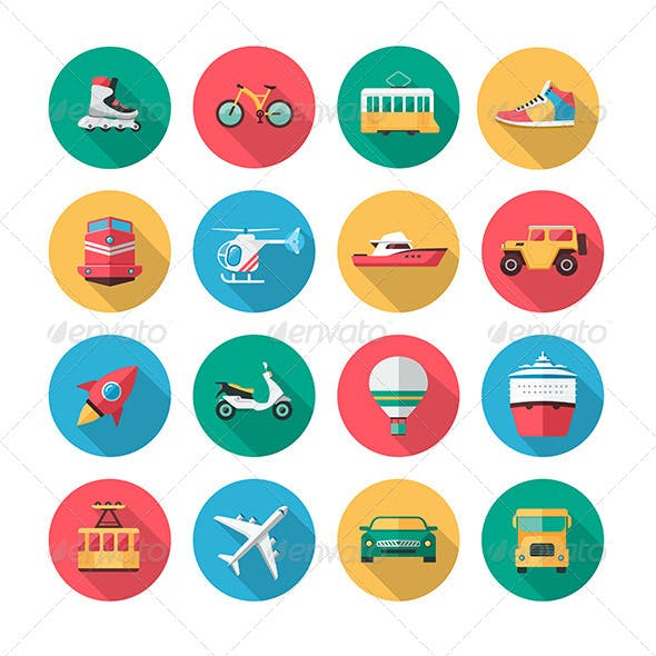 16 Vector Transport Icons in Flat Style