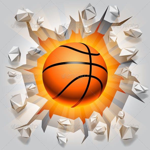 Basketball Ball and Cracked Wall