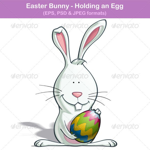 Easter Bunny Holding an Egg