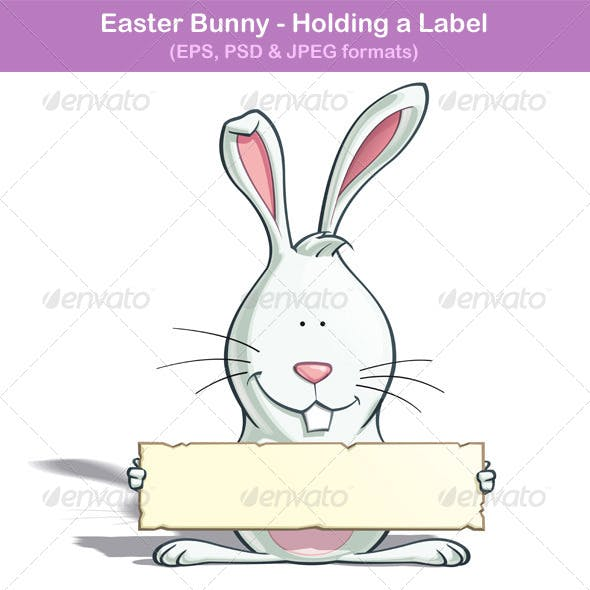 Easter Bunny - Holding a Label