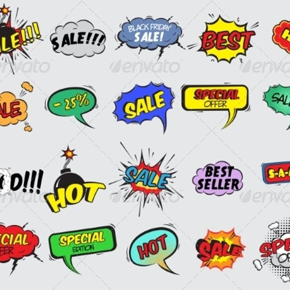 Comic Sale Explosion Icons