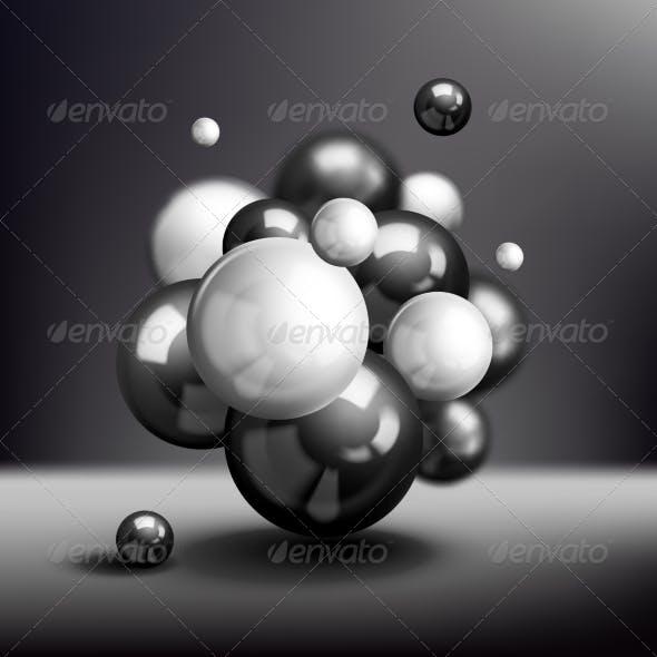 Dark 3D Spheres Molecule Poster