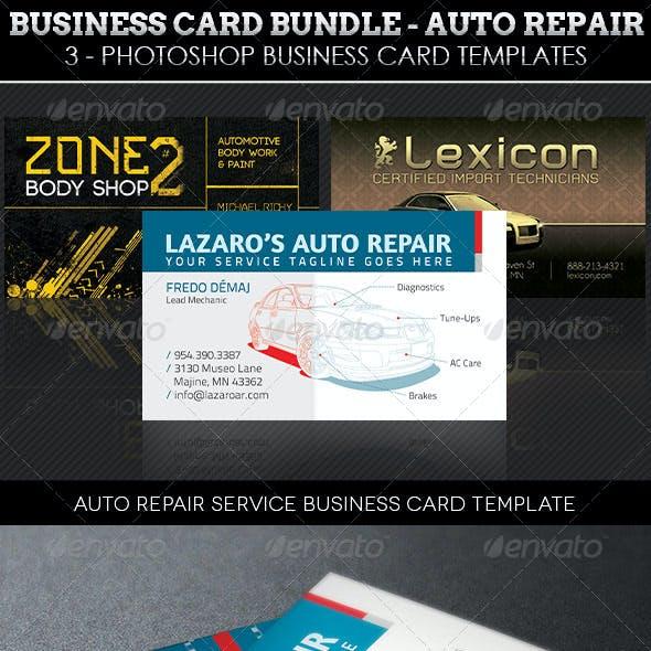 Auto Repair Business Card Template Bundle