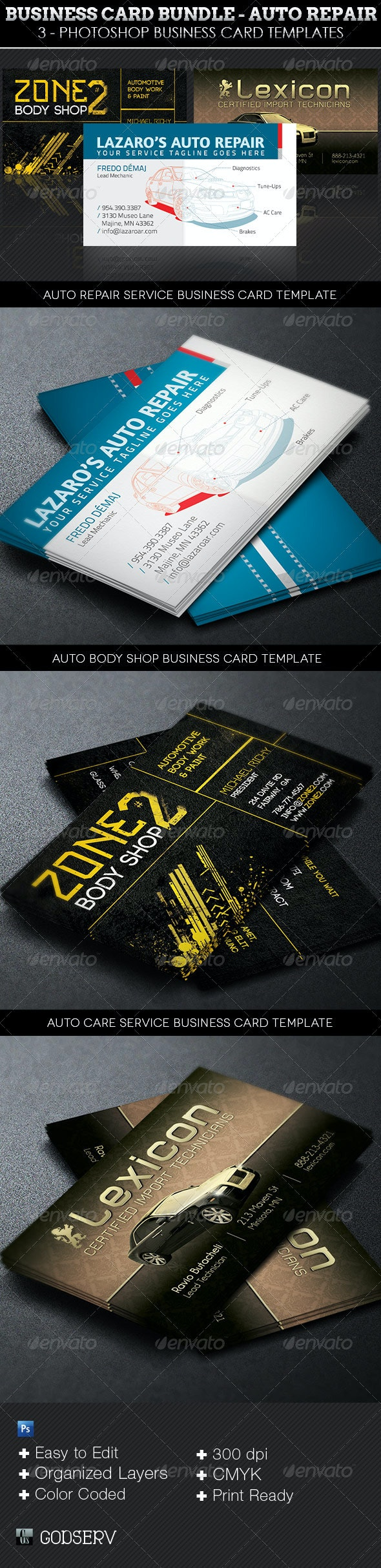 Auto Repair Business Card Template Bundle - Industry Specific Business Cards