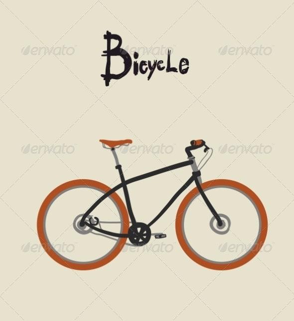 Vintage bicycle. Vector illustration. - Sports/Activity Conceptual