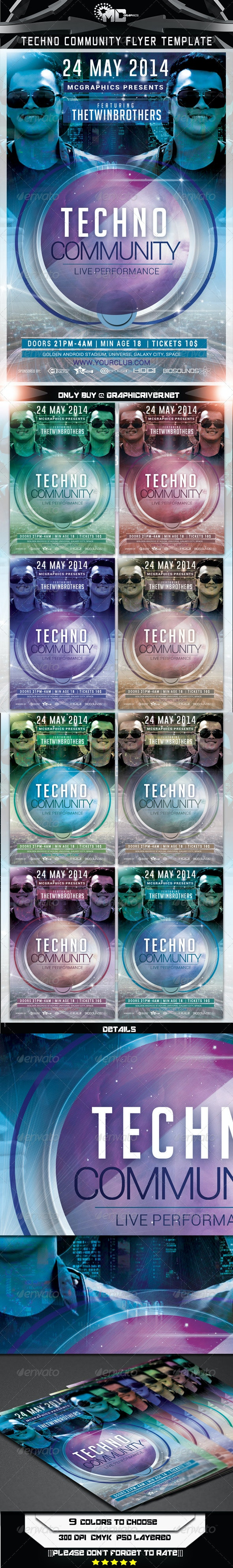 Techno Community Flyer Template - Flyers Print Templates