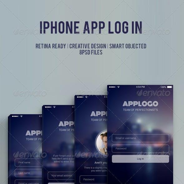 Phone app log in UI