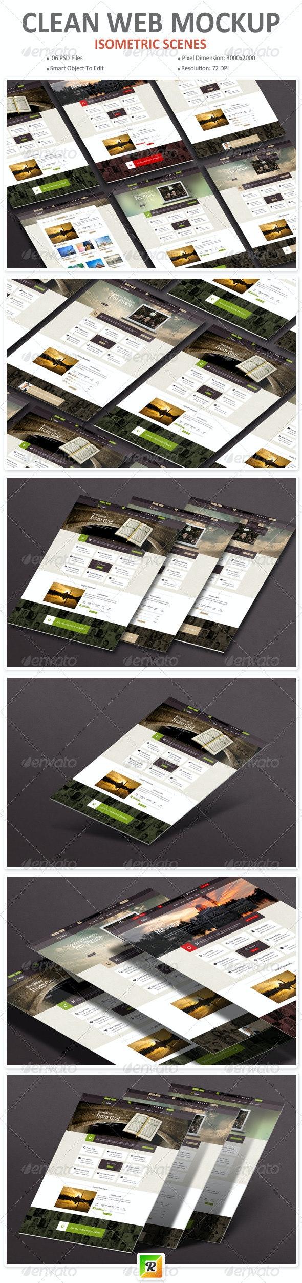 Clean Web Mockup - Website Displays