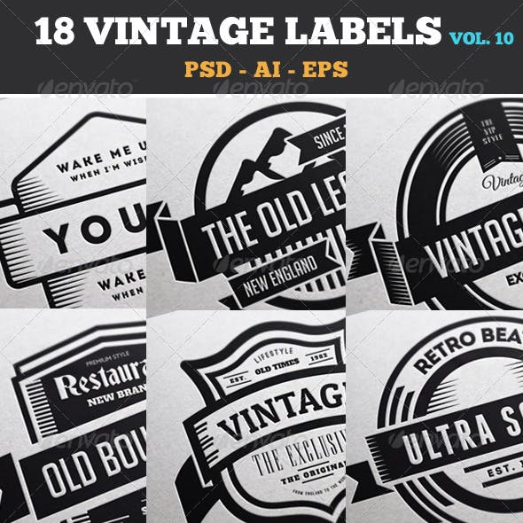18 Vintage Labels & Badges / Logos / Insignias V10