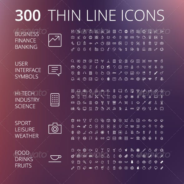 Thin Line Icons For Business and Technology