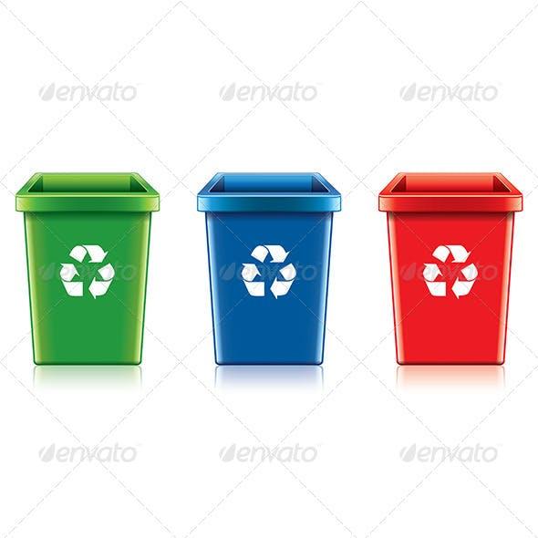 Plastic Recycle Bin Set