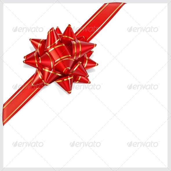 Bow of Red Ribbon Located Diagonally
