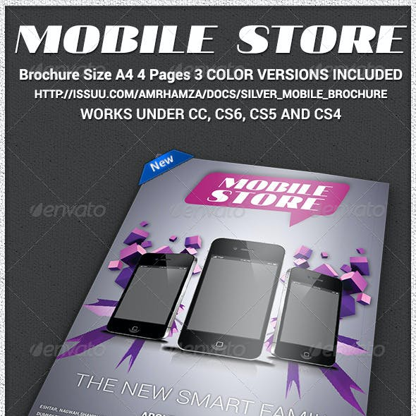 Mobile Store A4 4Page Brochure Indesign Template